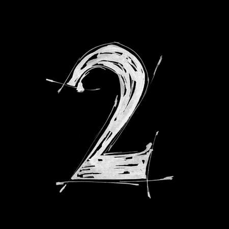 grazing: digit 2. Alphabet symbol - grunge hand draw paint Stock Photo