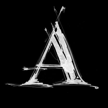 the inscription: letter A. Alphabet symbol - grunge hand draw paint