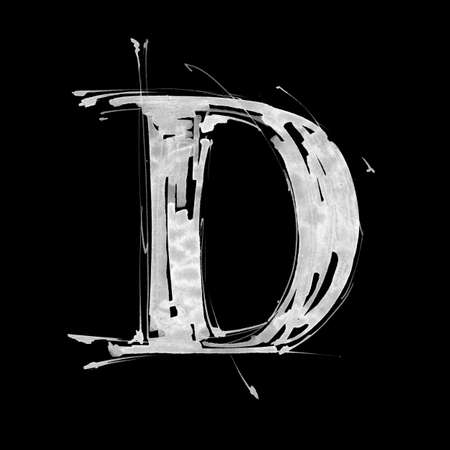 letter D. Alphabet symbol - grunge hand draw paint photo