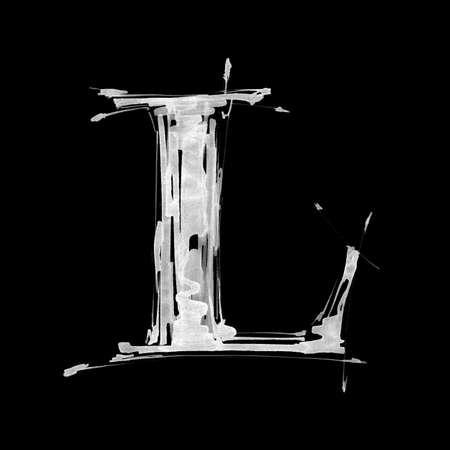 grazing: letter L. Alphabet symbol - grunge hand draw paint