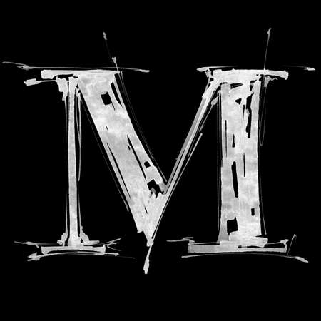 letter M. Alphabet symbol - grunge hand draw paint photo