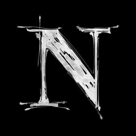 letter N. Alphabet symbol - grunge hand draw paint photo