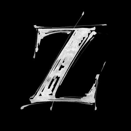 splotches: letter Z. Alphabet symbol - grunge hand draw paint