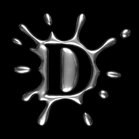 Liquid metal letter D - alphabet symbol isolated on a black background (with path)