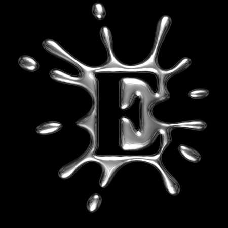 Liquid metal letter E - alphabet symbol isolated on a black background (with path)