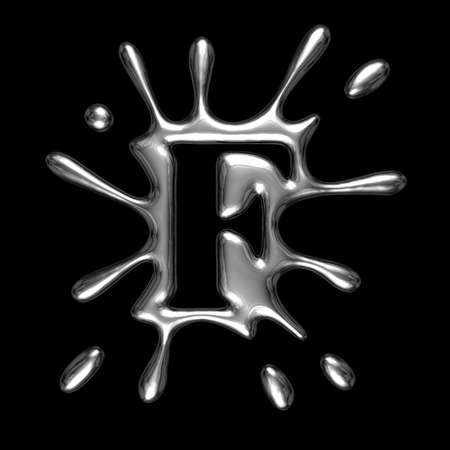Liquid metal letter F - alphabet symbol isolated on a black background (with path)