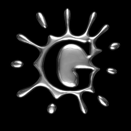 Liquid metal letter G - alphabet symbol isolated on a black background (with path)