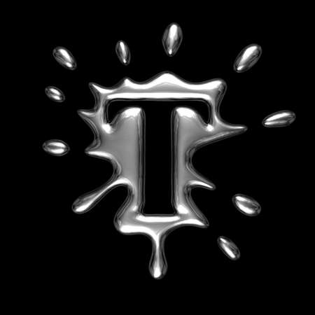liquid metal: Liquid metal letter T - alphabet symbol isolated on a black background (with path)