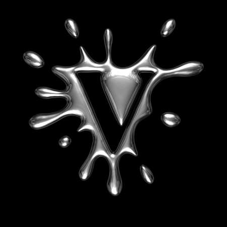 monotype: Liquid metal letter V - alphabet symbol isolated on a black background (with path) Stock Photo