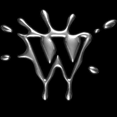 Liquid metal letter W - alphabet symbol isolated on a black background (with path)