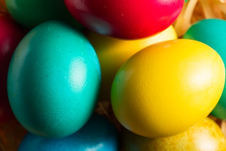 reproduce: colorful easter eggs close up