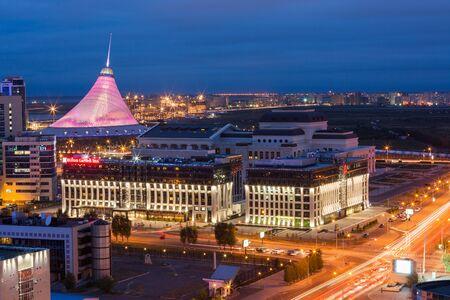 ASTANA, KAZAKHSTAN - August 25, 2015: Elevated view over the city center with Khan Shatyr - shopping and entertainment center, Astana Opera House and Hilton Garden Inn