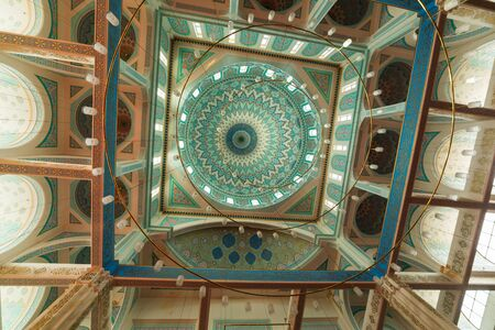 ASTANA, KAZAKHSTAN - August 25, 2015: Interior of the Nur-Astana Mosque, the third largest mosque in Central Asia.