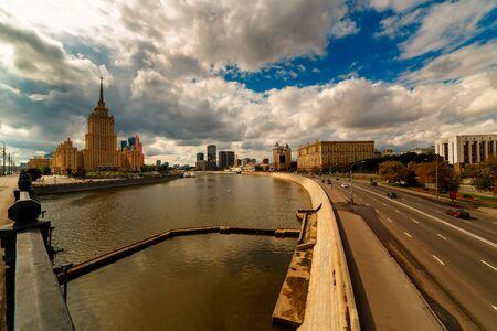 MOSKOW, RUSSIA - AUGUST 17, 2014: View of the hotel Ukraine, Moscow Ð¡ity and Krasnopresnenskaya embankment