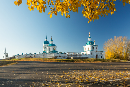 Yeniseysk, Russia. The Savior Transfiguration monastery in Yeniseisk surroundings the golden autumn