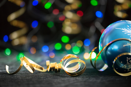 Party Background with Christmas toy, lights and serpentine 写真素材