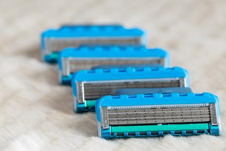 New replacement razor blades closeup 写真素材