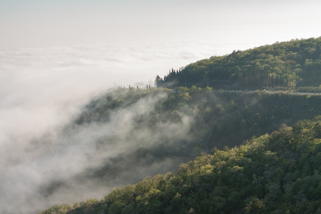 Picturesque road and heavy fog in the mountains of Crimea