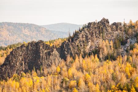 Reserve Krasnoyarsk Pillars. View on the rock Chinese Wall