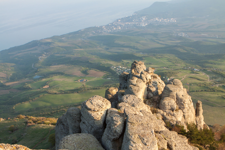 Rock formations of the Demerdji mountain, Crimea, Russia. Valley of Ghosts, landmark of Crimea.