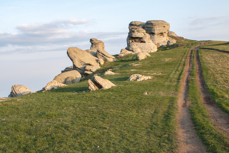 Rock formations of the Demerdji mountain, Crimea, Russia. Valley of Ghosts, landmark of Crimea.