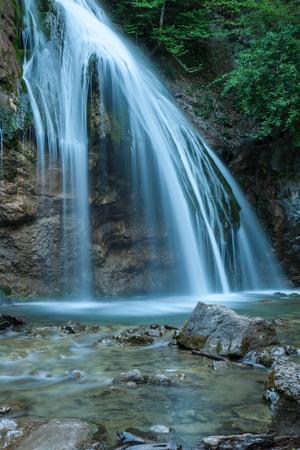 Beautiful waterfall Jur-Jur in the Crimea in the evening