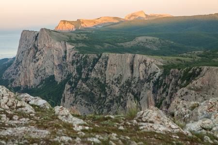 Crimea nature. Amazing landscape, mountains, Black sea coast during sunset. Beauty of nature scenery in Crimea