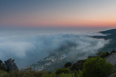 Evening landscape. Top view of the city Katseveli in Crimea, Russia.