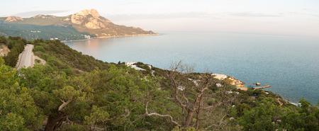 View of the road, the Black sea and Ilyas-Kaya mountain on the southern coast of Crimea.