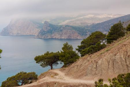 Picturesque view of Black Sea coastline, Crimean mountains and Balaklava bay, Crimea, Russia.