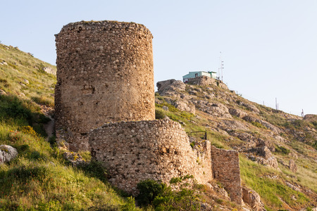 The ruins of the old Genoese Chembalo fortress in Balaclava, Crimea, Russia. Фото со стока
