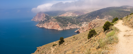 View of the old Genoas fortress Chembalo, Black sea and Balaklava Bay, Crimea, Russia.