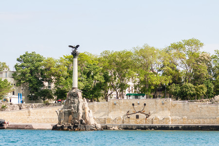 Monument to the scuttled ships on a Sunny day. Sevastopol, Crimea, Russia. Фото со стока