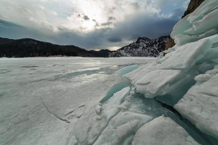 Biryusinsky Bay in the Krasnoyarsk reservoir in early spring. Фото со стока