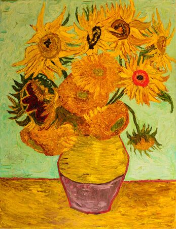 Sunflowers, oil painting on canvas. Based on the painting by van Gogh.