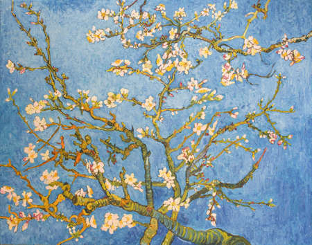 Blossoming Almond Tree. Beautiful oil painting on canvas. Based on the great painting by Van Gogh, 1890. Brush strokes and canvas textures.