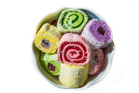 Turkish Delight in a porcelain vase on a white background , top view