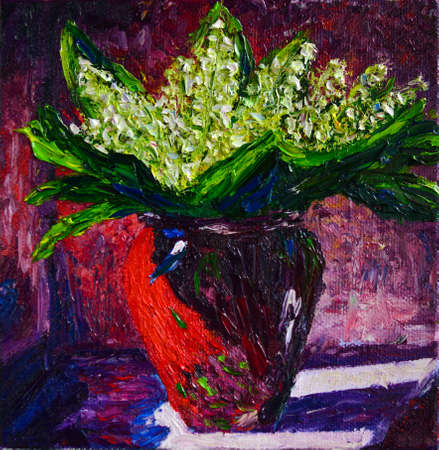 Original oil painting on canvas showing Lily of the valley in vase, Convallaria majalis, flowers bouquet .Modern Impressionism.