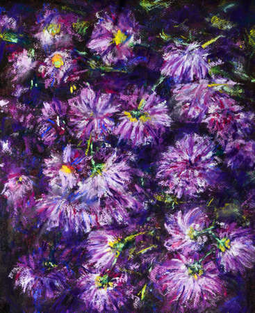 Colorful dreams. Drawing with pastels, paper still life of chrysanthemum flowers. Dry pastel on paper. Banco de Imagens