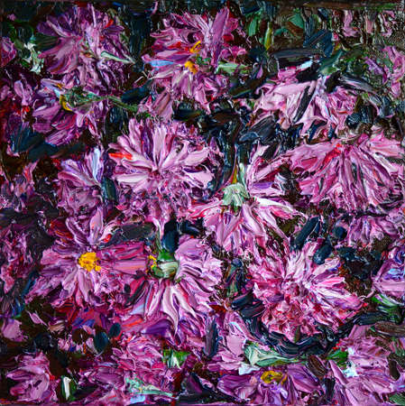 Original oil painting on canvas Purple chrysanthemums. Textured brush strokes.