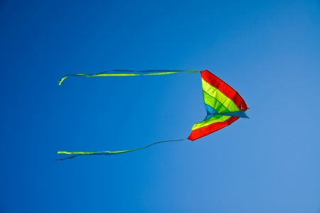 colorful kite flying in the blue and clear sky photo