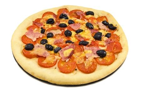 round pizza isolated on white photo