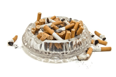 ashtray full of cigarette butts photo