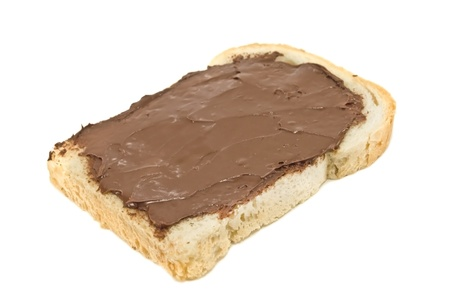 sandwich with chocolate on white photo