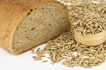 gold flax: bread and oat on white