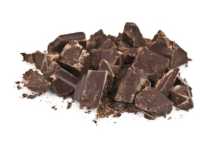 caloric: pieces of chocolate on white background