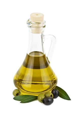 olive oil on white background photo