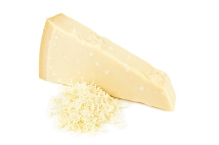 grated parmesan cheese: grated parmesan on white background