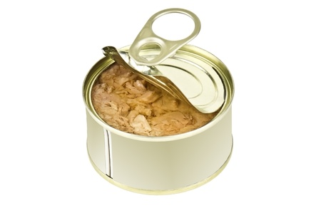 canned: tuna in cans on white Stock Photo