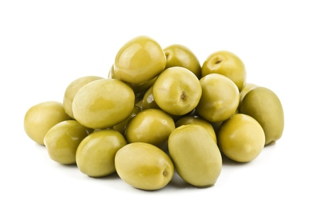 heap of olive on white